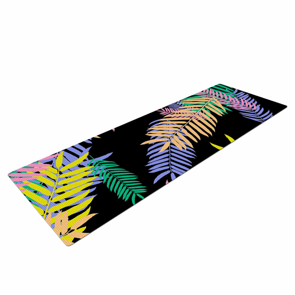 "Vasare Nar ""Tropical Palm 90s"" Black Multicolor Art Deco Floral Yoga Mat"