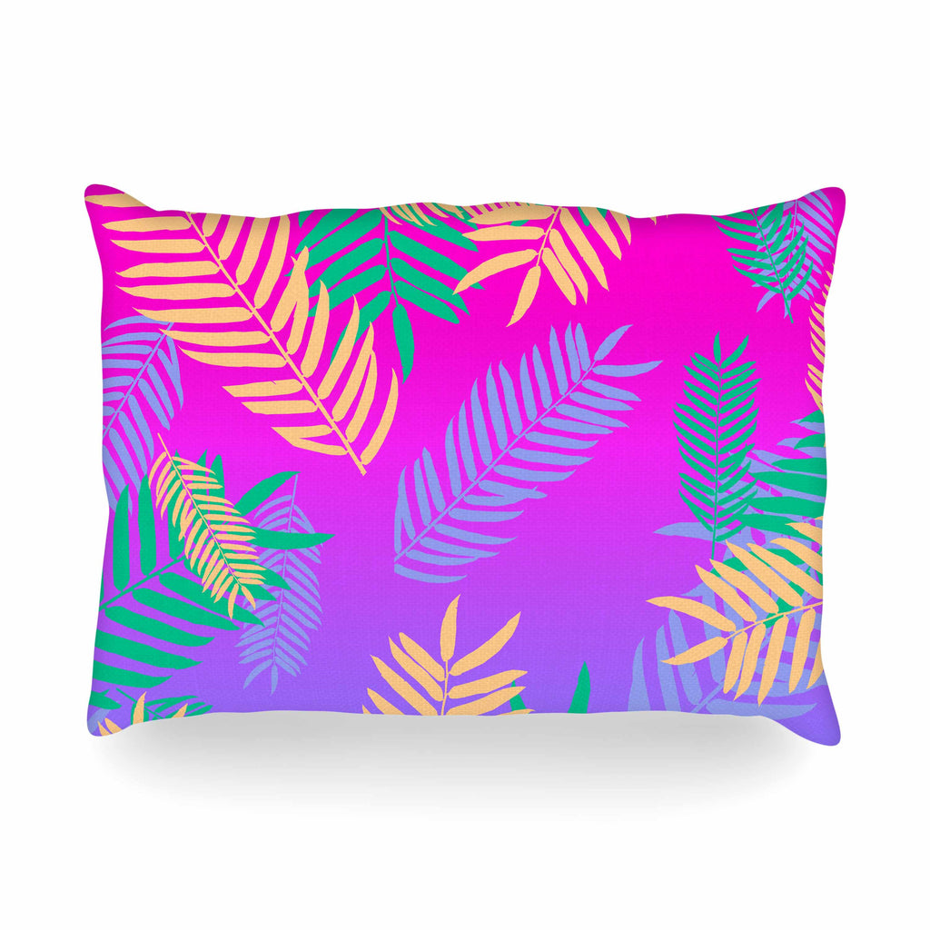 "Vasare Nar ""Tropical Cocktail"" Magenta Multicolor Art Deco Pop Art Oblong Pillow"