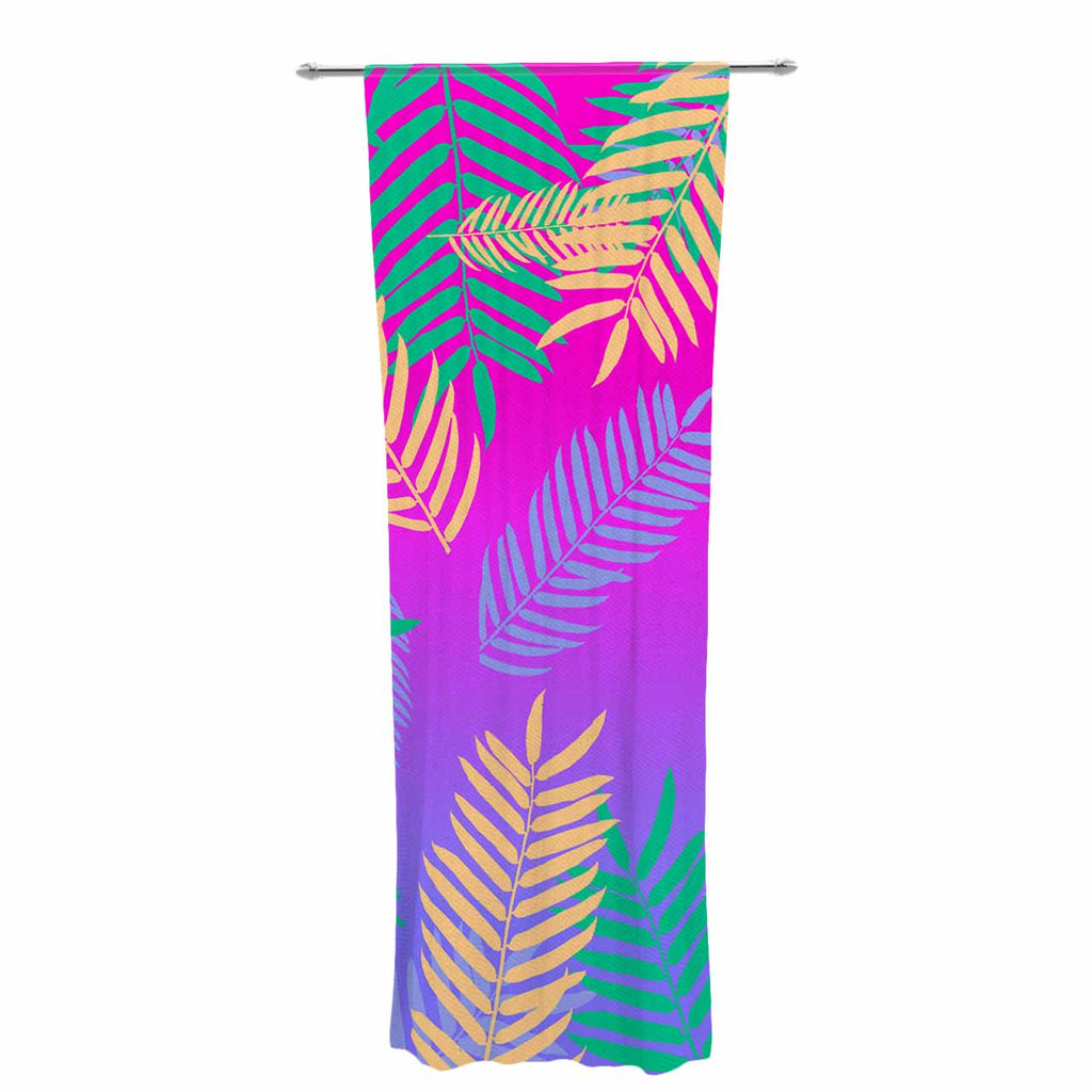 "Vasare Nar ""Tropical Cocktail"" Magenta Multicolor Art Deco Pop Art Decorative Sheer Curtain"