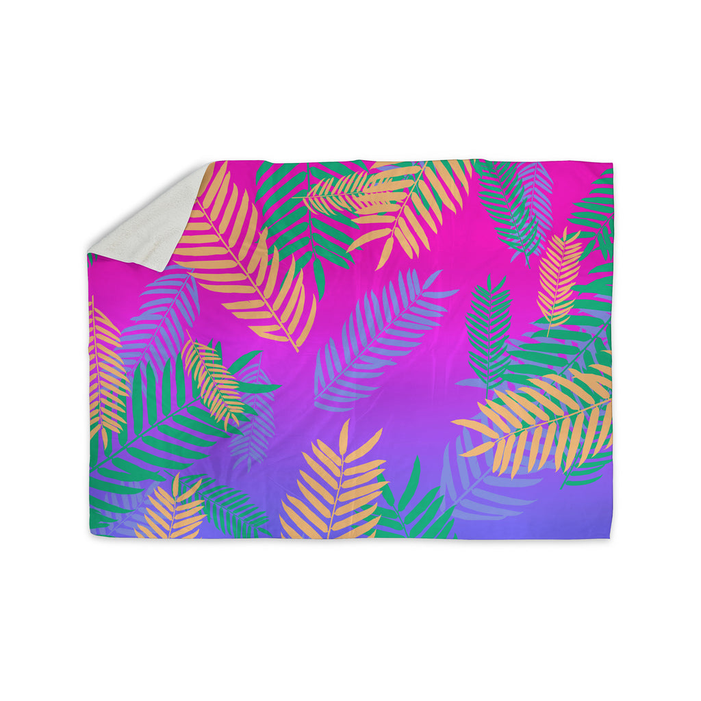"Vasare Nar ""Tropical Cocktail"" Magenta Multicolor Art Deco Pop Art Sherpa Blanket - KESS InHouse"
