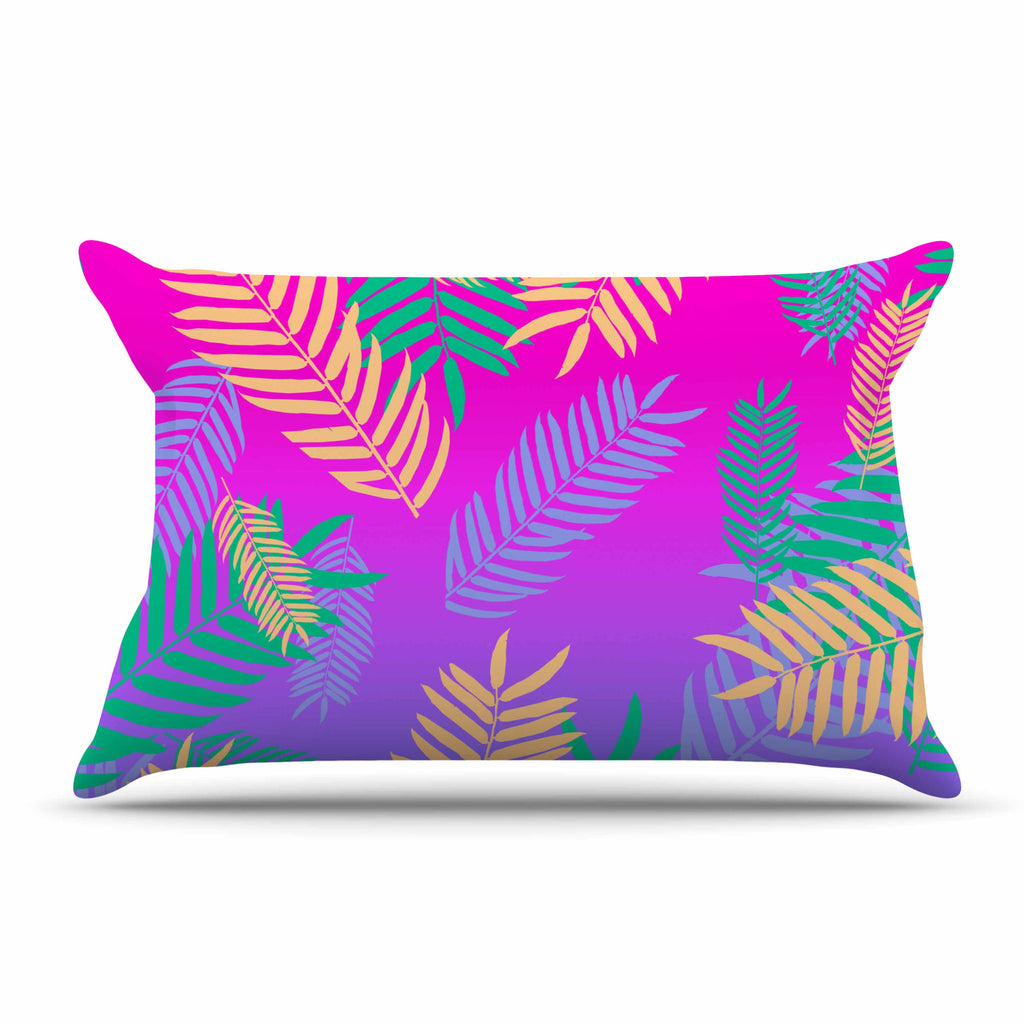 "Vasare Nar ""Tropical Cocktail"" Magenta Multicolor Art Deco Pop Art Pillow Sham"