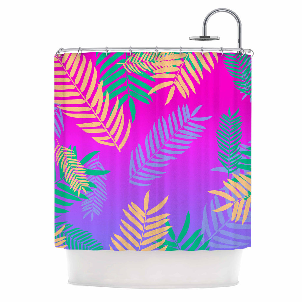 "Vasare Nar ""Tropical Cocktail"" Magenta Multicolor Art Deco Pop Art Shower Curtain"