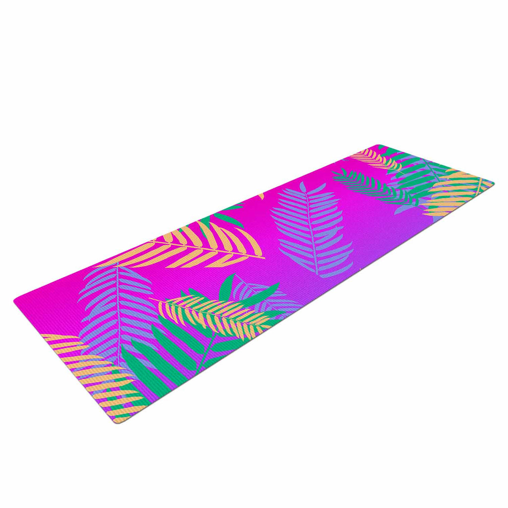 "Vasare Nar ""Tropical Cocktail"" Magenta Multicolor Art Deco Pop Art Yoga Mat"