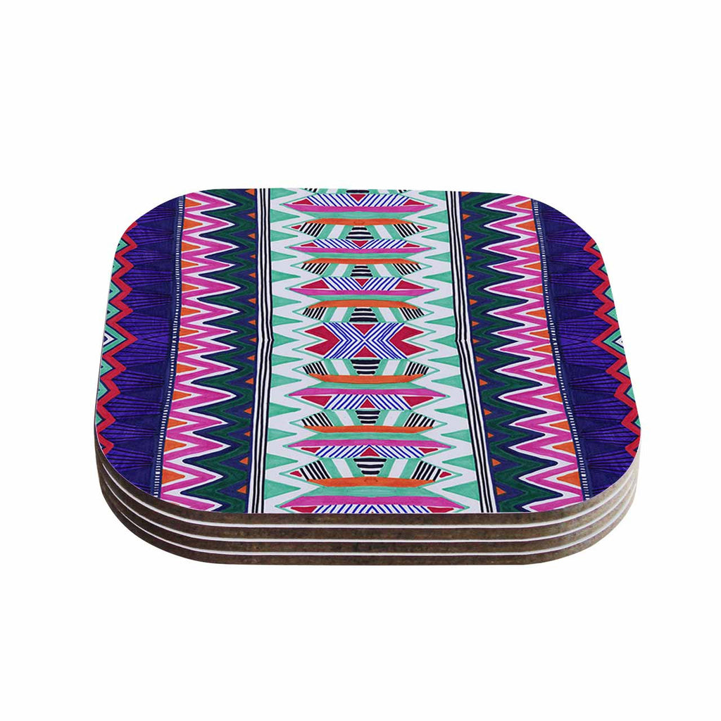 "Vasare Nar ""Folk Tribal"" Purple Pink Ethnic Tribal Coasters (Set of 4)"