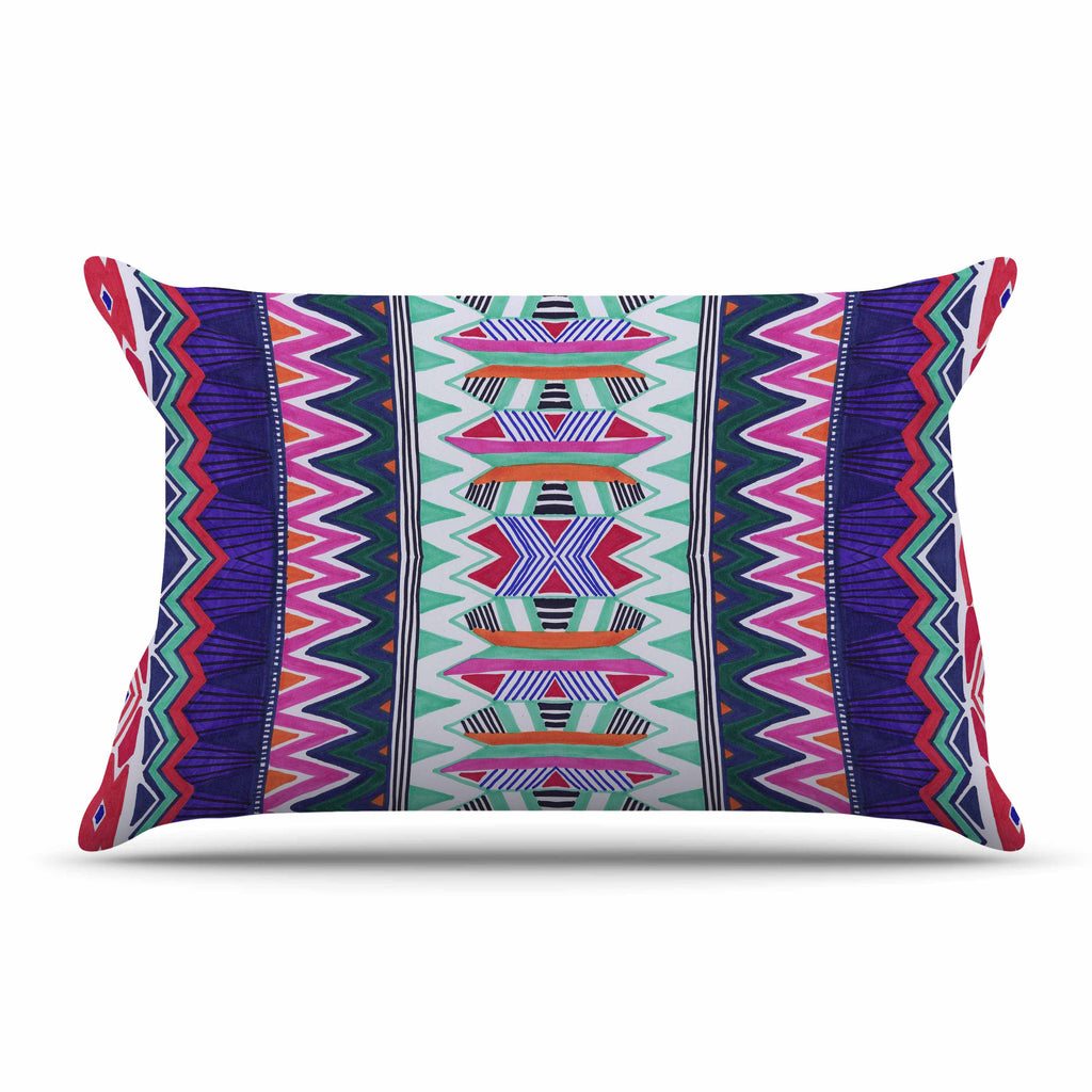 "Vasare Nar ""Folk Tribal"" Purple Pink Ethnic Tribal Pillow Sham"