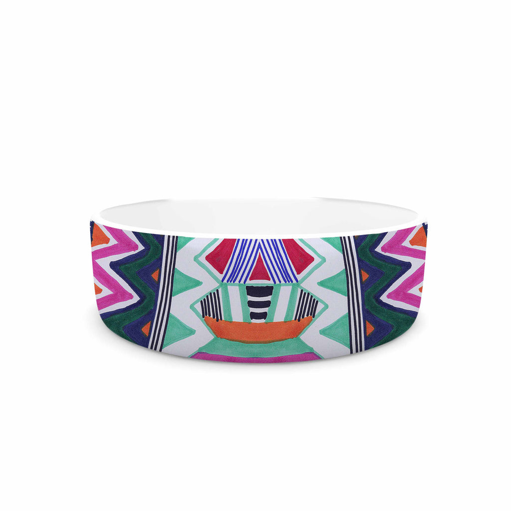 "Vasare Nar ""Folk Tribal"" Purple Pink Ethnic Tribal Pet Bowl"