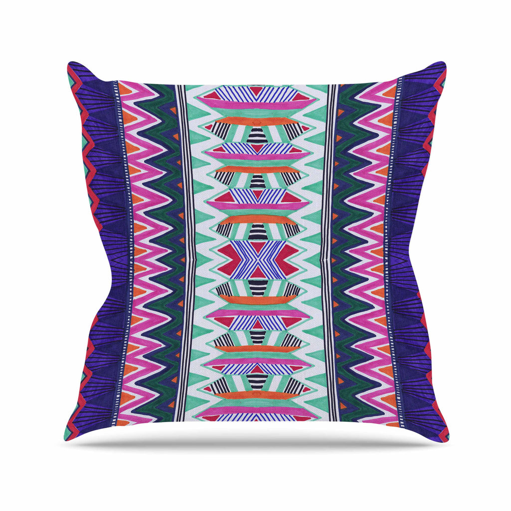 "Vasare Nar ""Folk Tribal"" Purple Pink Ethnic Tribal Outdoor Throw Pillow"