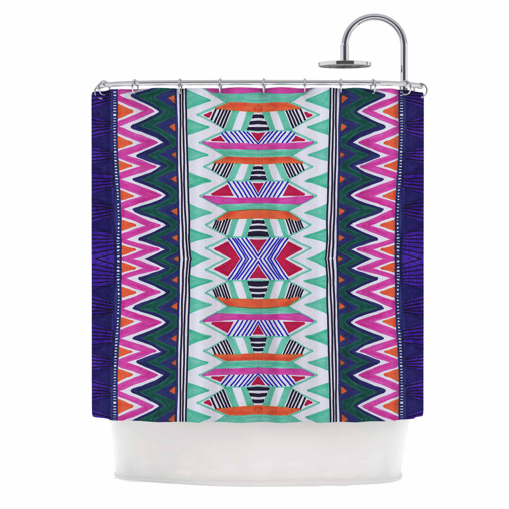 "Vasare Nar ""Folk Tribal"" Purple Pink Ethnic Tribal Shower Curtain"