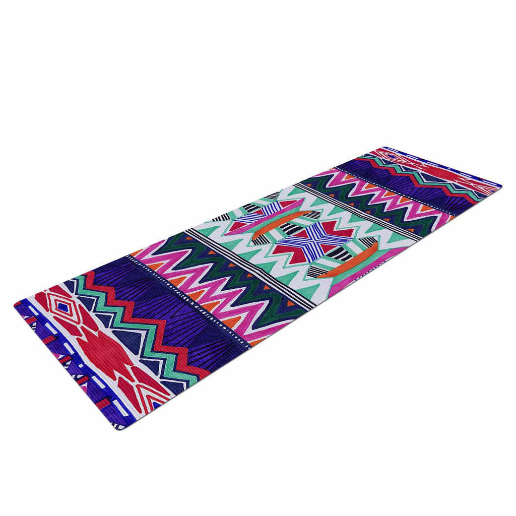 "Vasare Nar ""Folk Tribal"" Purple Pink Ethnic Tribal Yoga Mat"