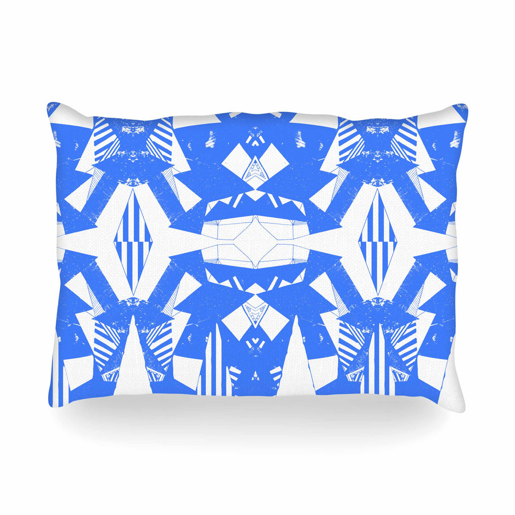 "Vasare Nar ""Azure Geometric"" Blue White Art Deco Pattern Oblong Pillow"