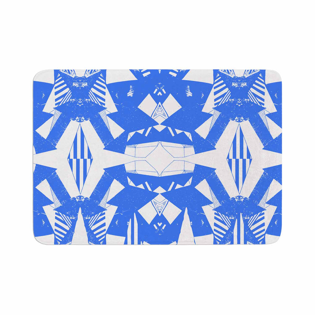 "Vasare Nar ""Azure Geometric"" Blue White Art Deco Pattern Memory Foam Bath Mat"