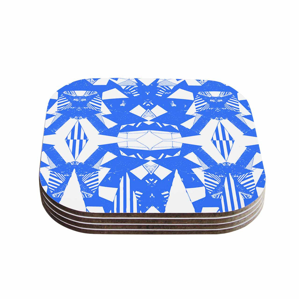 "Vasare Nar ""Azure Geometric"" Blue White Art Deco Pattern Coasters (Set of 4)"