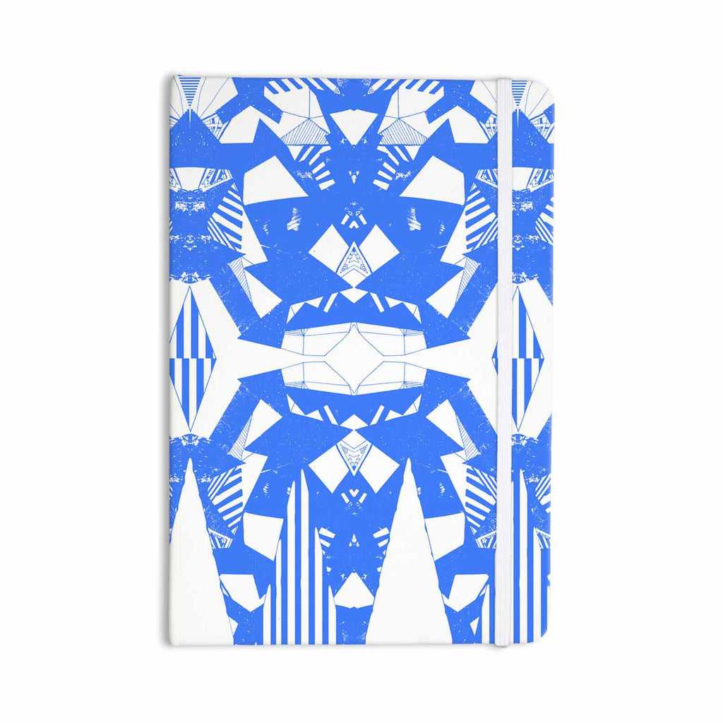 "Vasare Nar ""Azure Geometric"" Blue White Art Deco Pattern Everything Notebook - KESS InHouse  - 1"