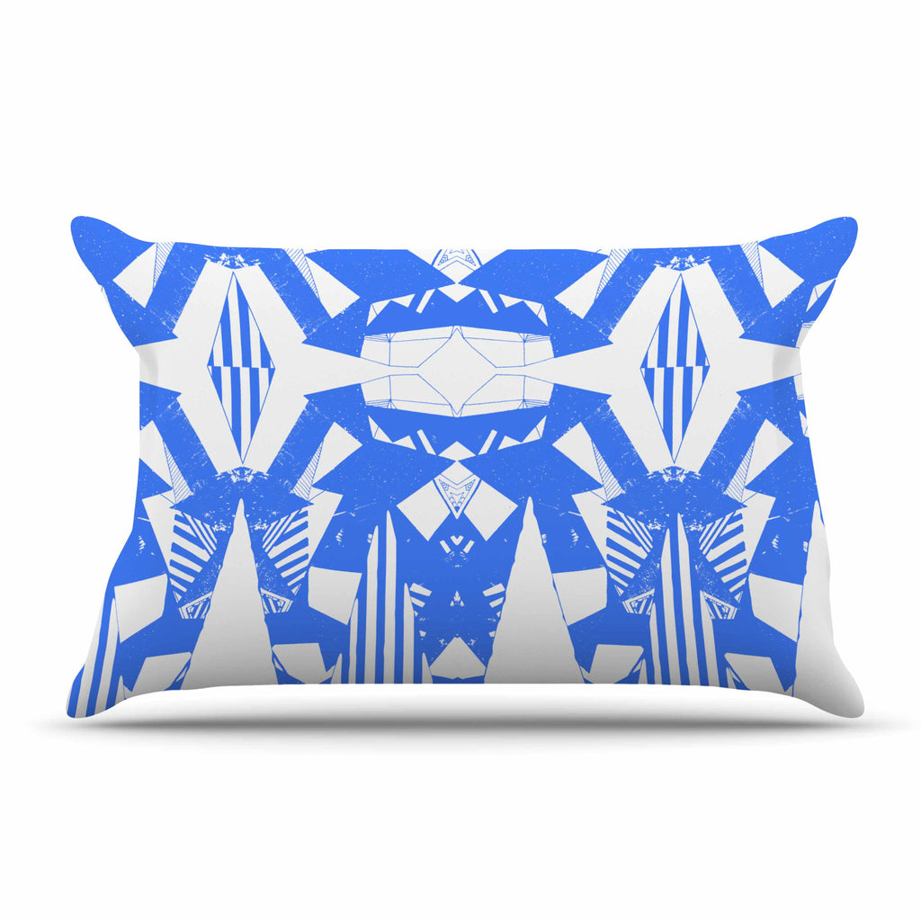 "Vasare Nar ""Azure Geometric"" Blue White Art Deco Pattern Pillow Sham"
