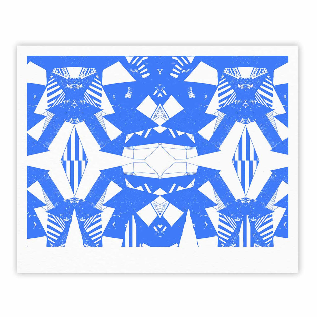"Vasare Nar ""Azure Geometric"" Blue White Art Deco Pattern Fine Art Gallery Print"