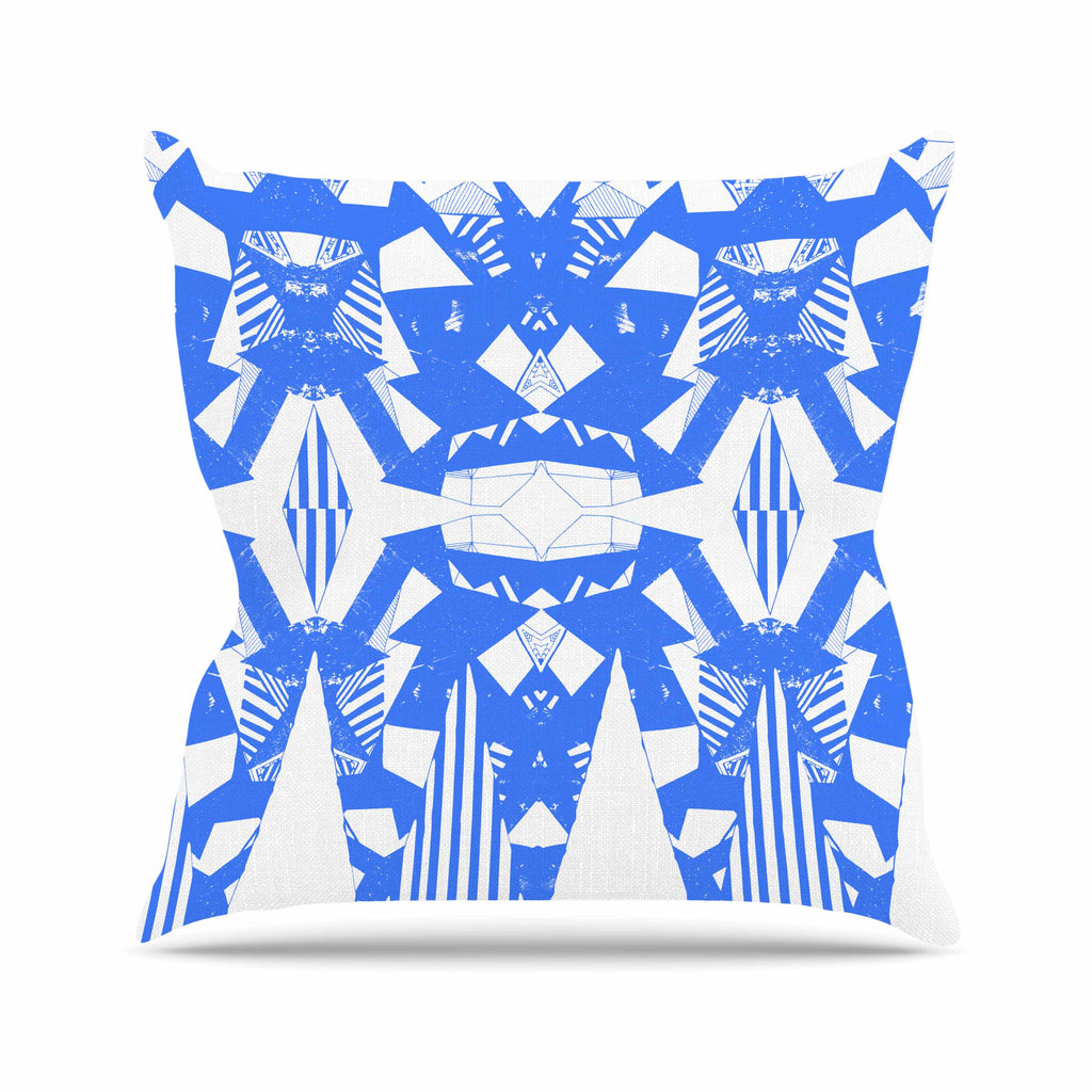 "Vasare Nar ""Azure Geometric"" Blue White Art Deco Pattern Outdoor Throw Pillow"