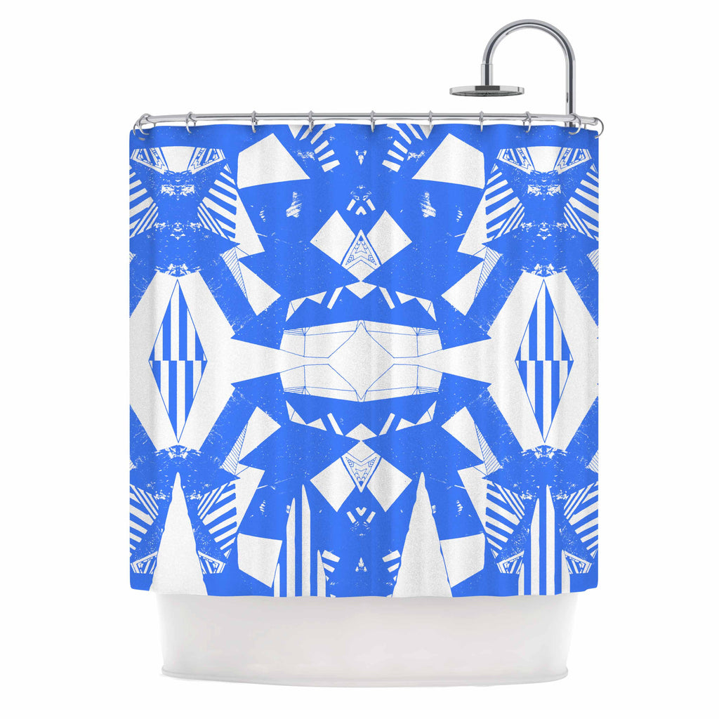 "Vasare Nar ""Azure Geometric"" Blue White Art Deco Pattern Shower Curtain"