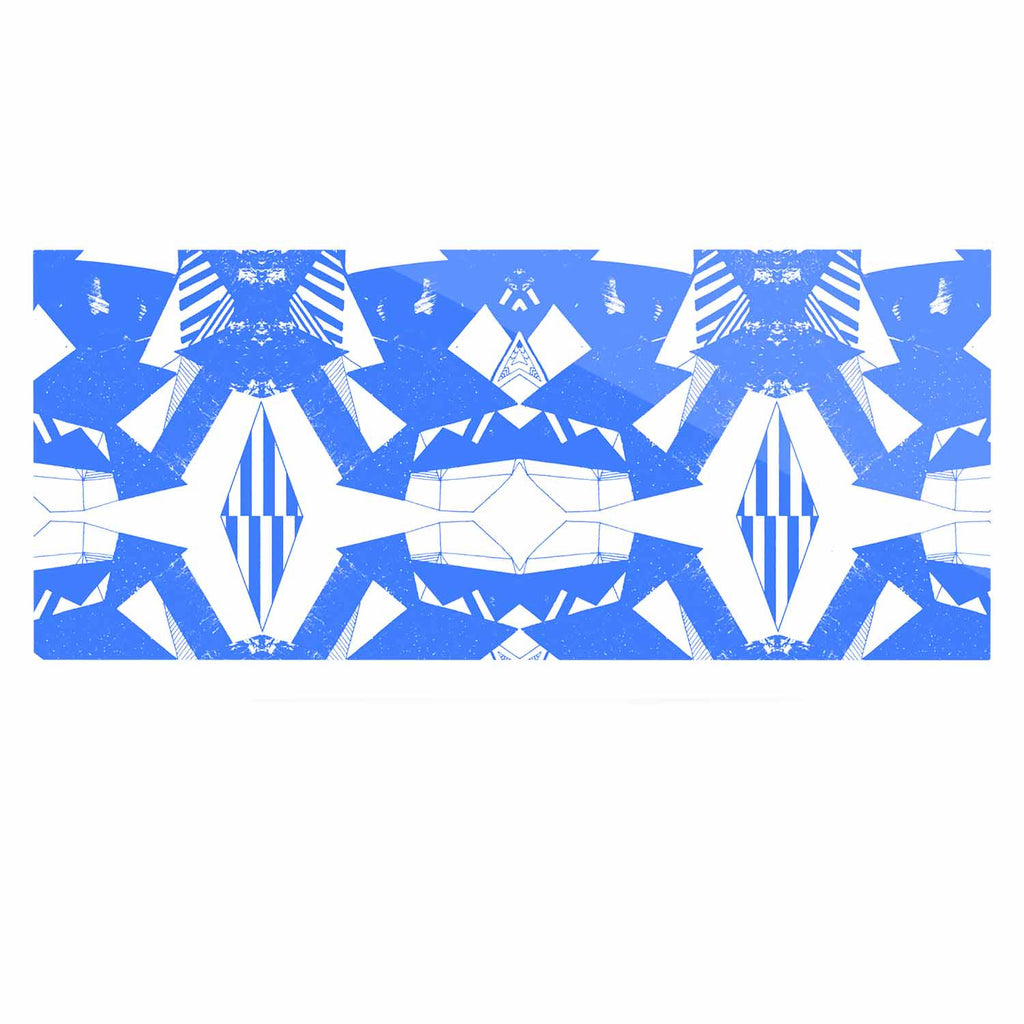 "Vasare Nar ""Azure Geometric"" Blue White Art Deco Pattern Luxe Rectangle Panel"