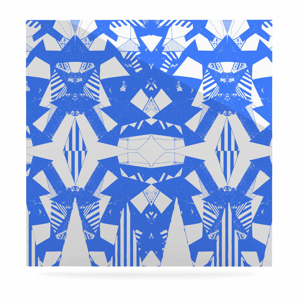"Vasare Nar ""Azure Geometric"" Blue White Art Deco Pattern Luxe Square Panel"