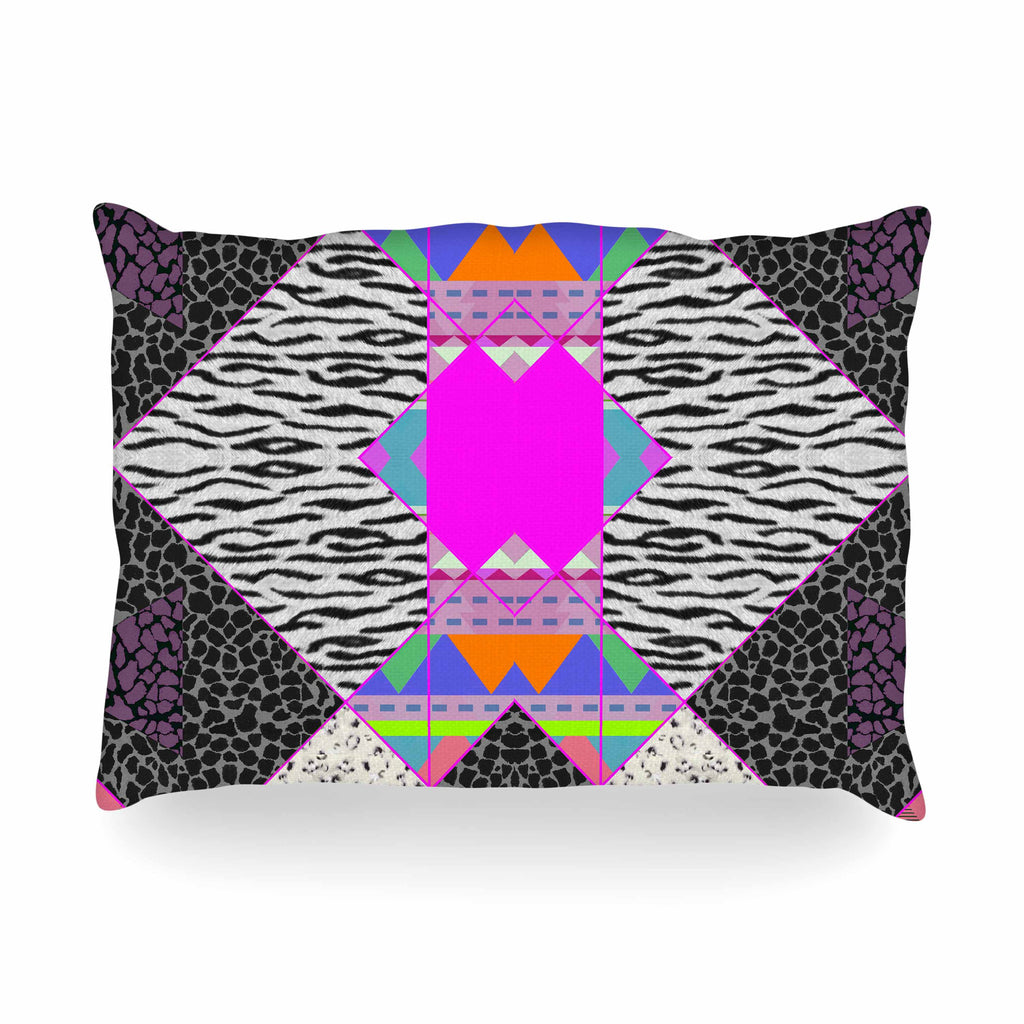 "Vasare Nar ""Zebra Native Pink"" Pink Black Tribal Pattern Oblong Pillow"