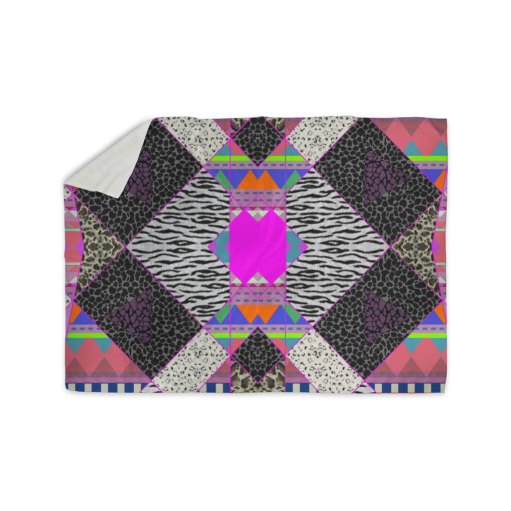 "Vasare Nar ""Zebra Native Pink"" Pink Black Tribal Pattern Sherpa Blanket - KESS InHouse"