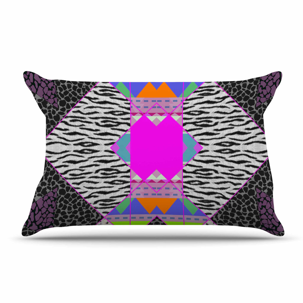 "Vasare Nar ""Zebra Native Pink"" Pink Black Tribal Pattern Pillow Sham"