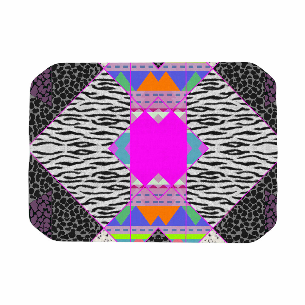"Vasare Nar ""Zebra Native Pink"" Pink Black Tribal Pattern Place Mat"