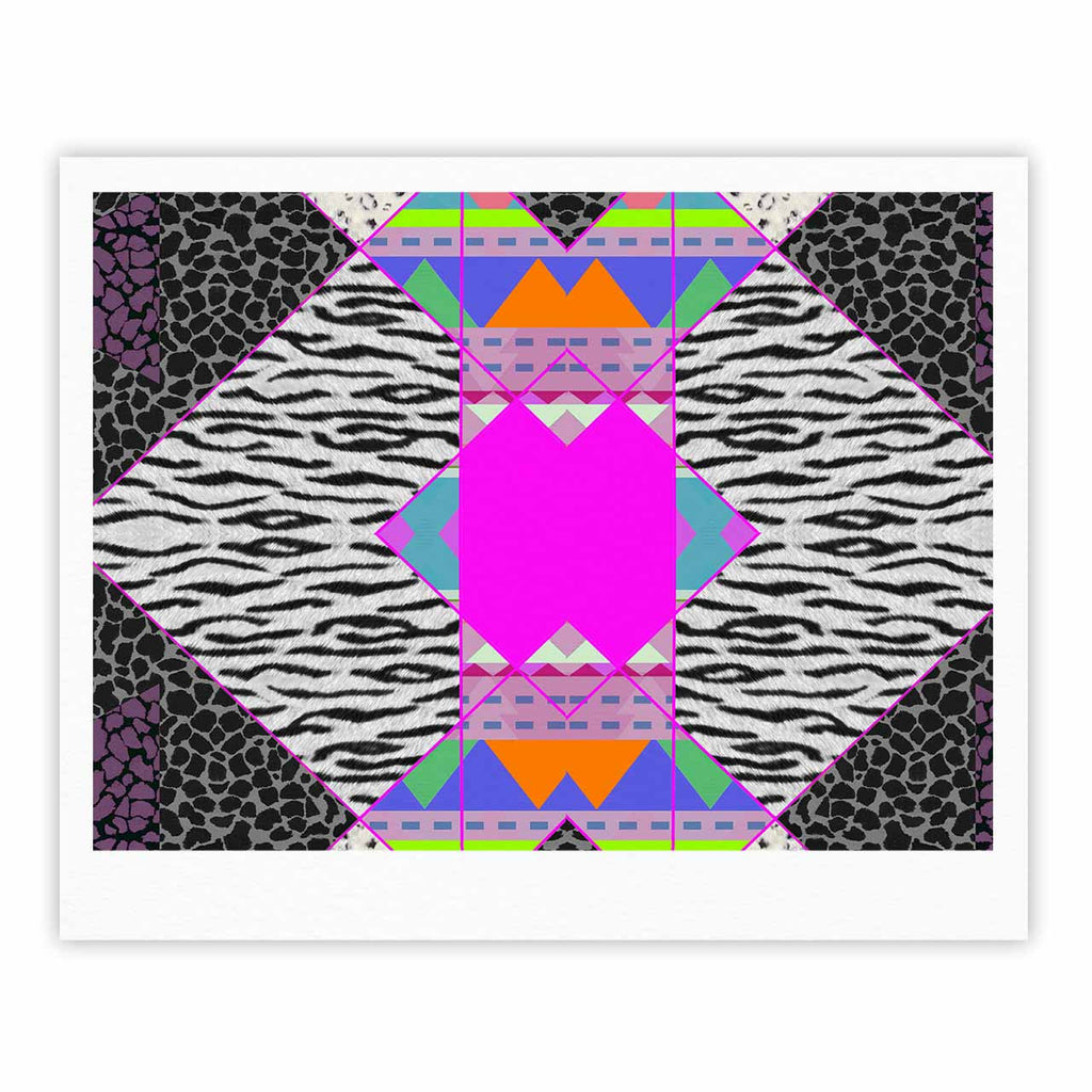 "Vasare Nar ""Zebra Native Pink"" Pink Black Tribal Pattern Fine Art Gallery Print"
