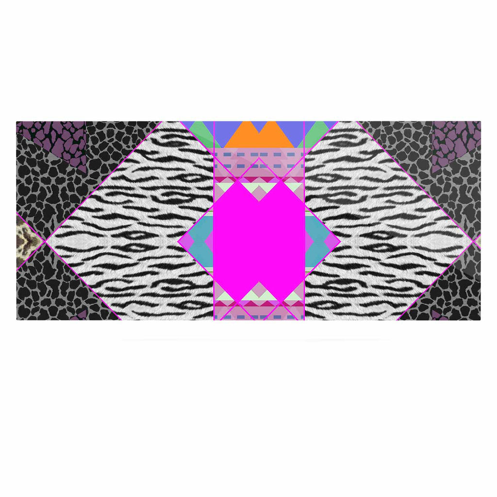 "Vasare Nar ""Zebra Native Pink"" Pink Black Tribal Pattern Luxe Rectangle Panel"