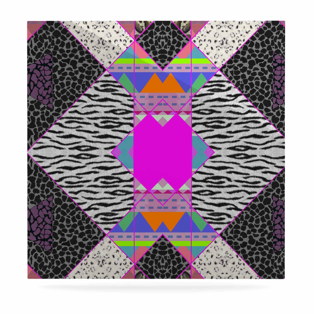 "Vasare Nar ""Zebra Native Pink"" Pink Black Tribal Pattern Luxe Square Panel"
