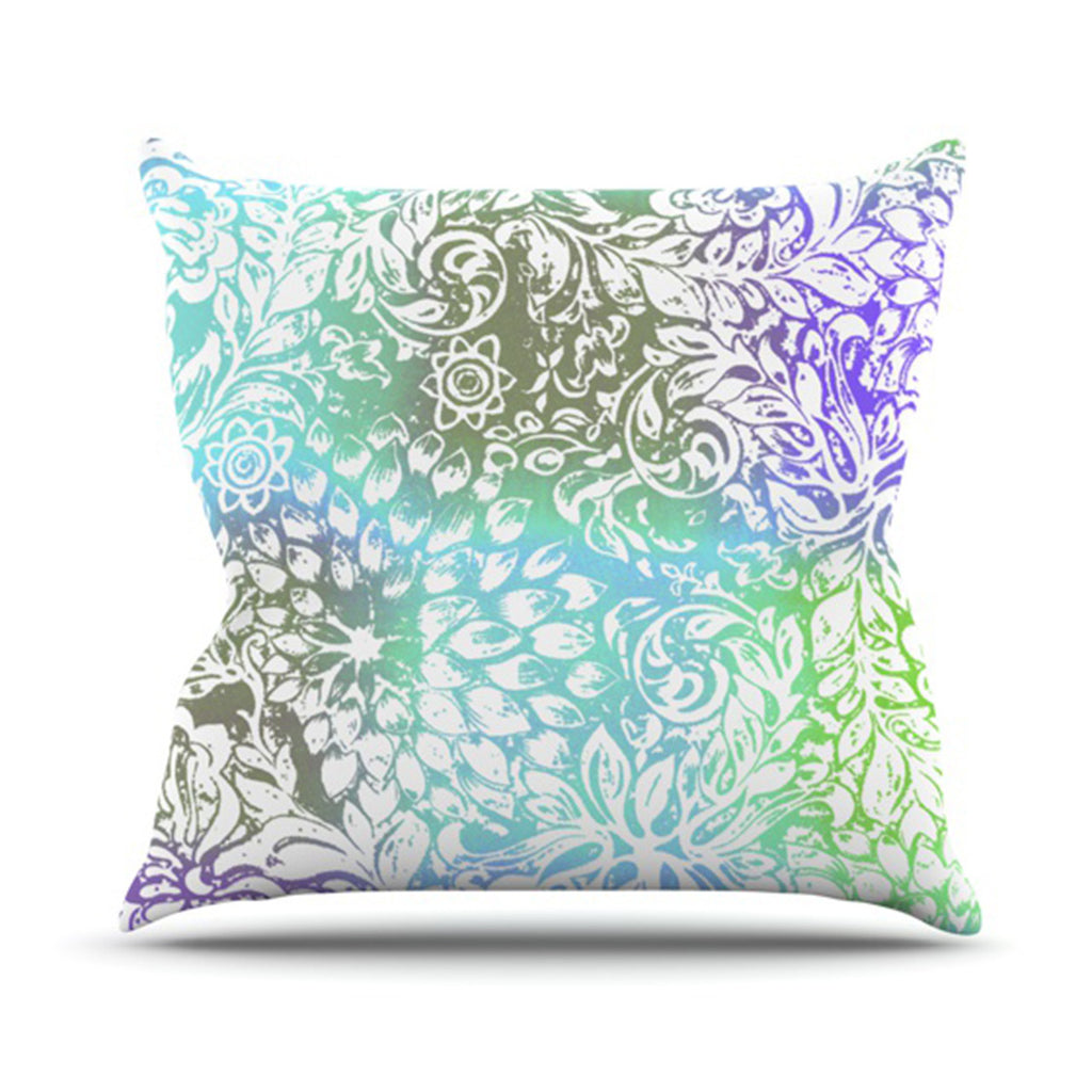 "Vikki Salmela ""Blue Bloom Softly for You"" Throw Pillow - KESS InHouse  - 1"