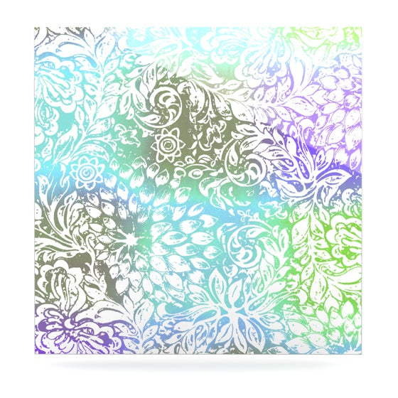 "Vikki Salmela ""Blue Bloom Softly for You"" Luxe Square Panel - KESS InHouse  - 1"