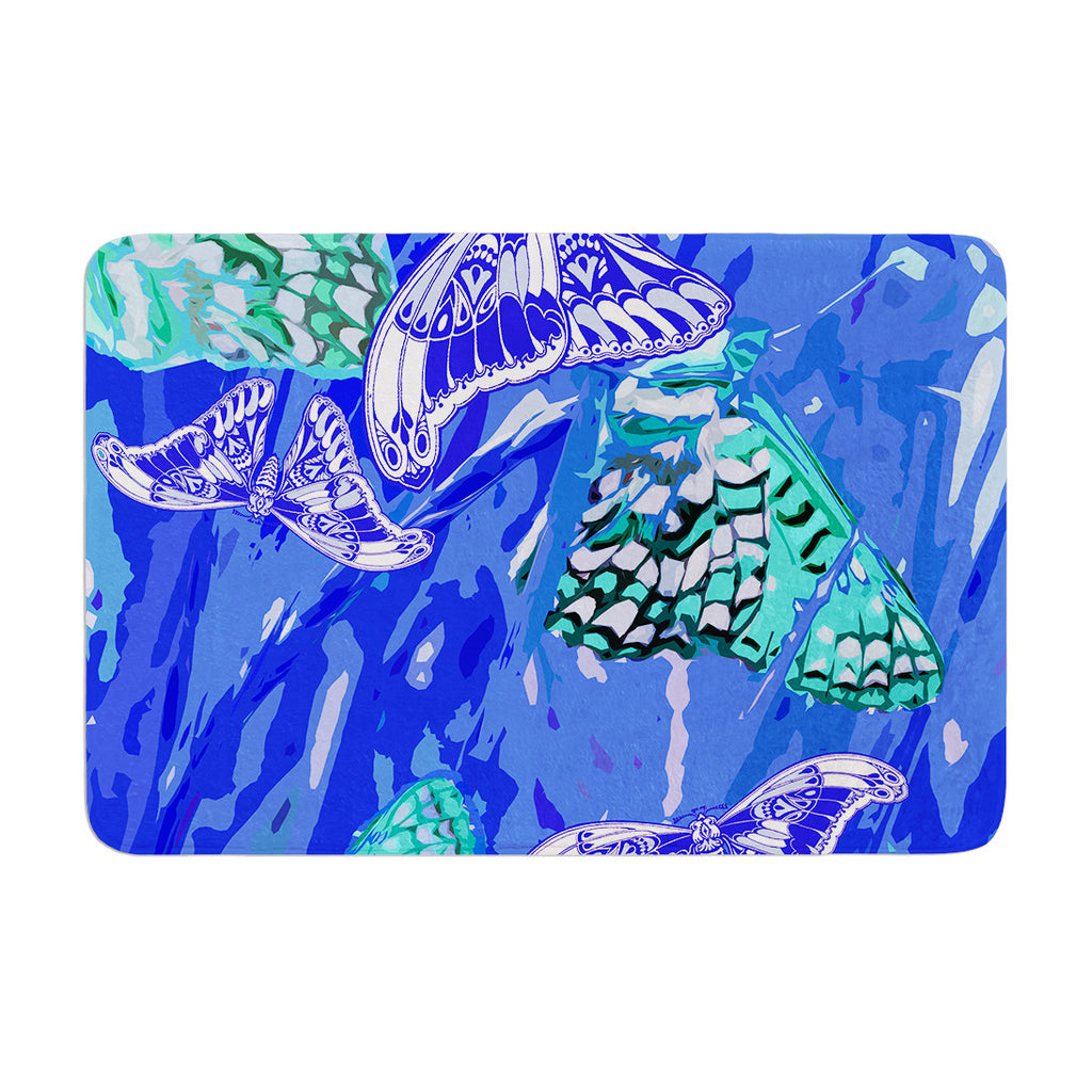 "Vikki Salmela ""Butterflies Party Blues"" Memory Foam Bath Mat - KESS InHouse"