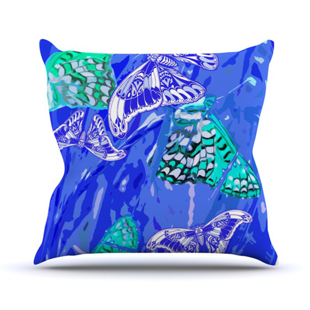 "Vikki Salmela ""Butterflies Party Blues"" Throw Pillow - KESS InHouse  - 1"