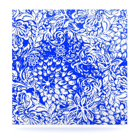 "Vikki Salmela ""Bloom Blue for You"" Luxe Square Panel - KESS InHouse  - 1"