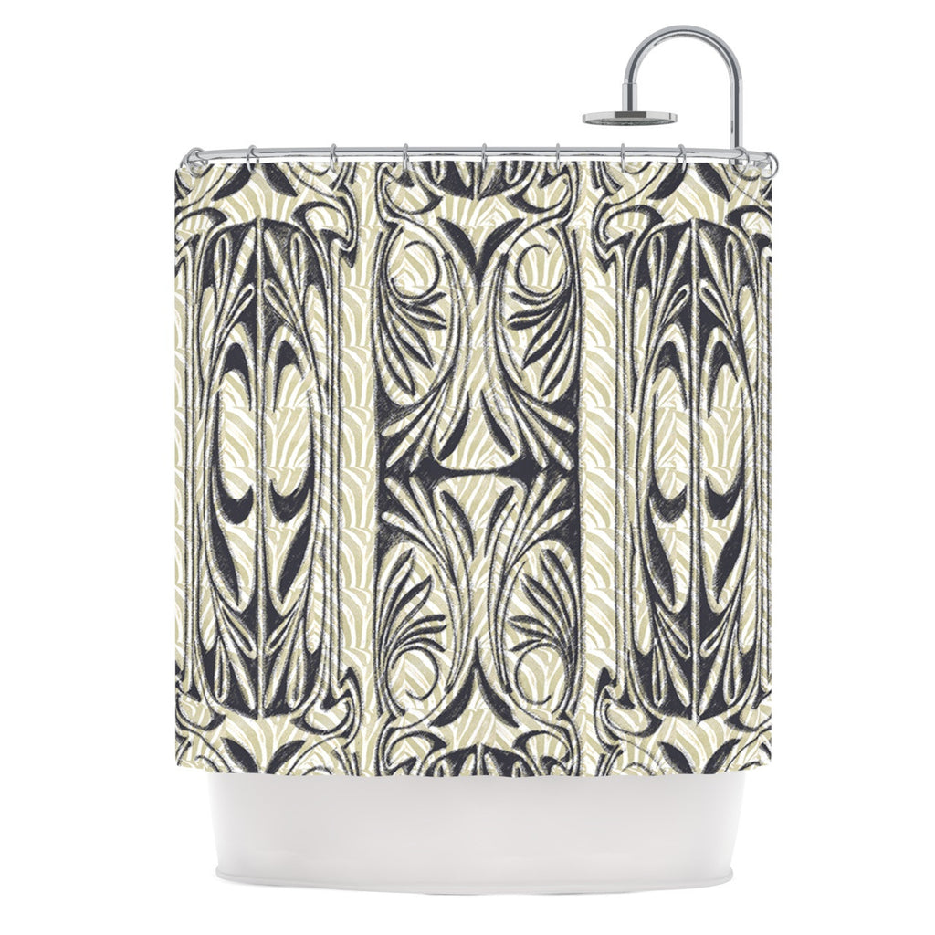 "Vikki Salmela ""The Palace"" Tan Black Shower Curtain - KESS InHouse"