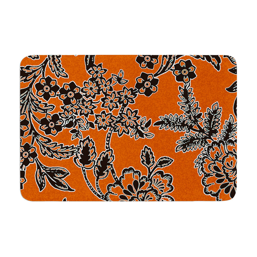 "Vikki Salmela ""Blossom"" Orange Black Memory Foam Bath Mat - KESS InHouse"