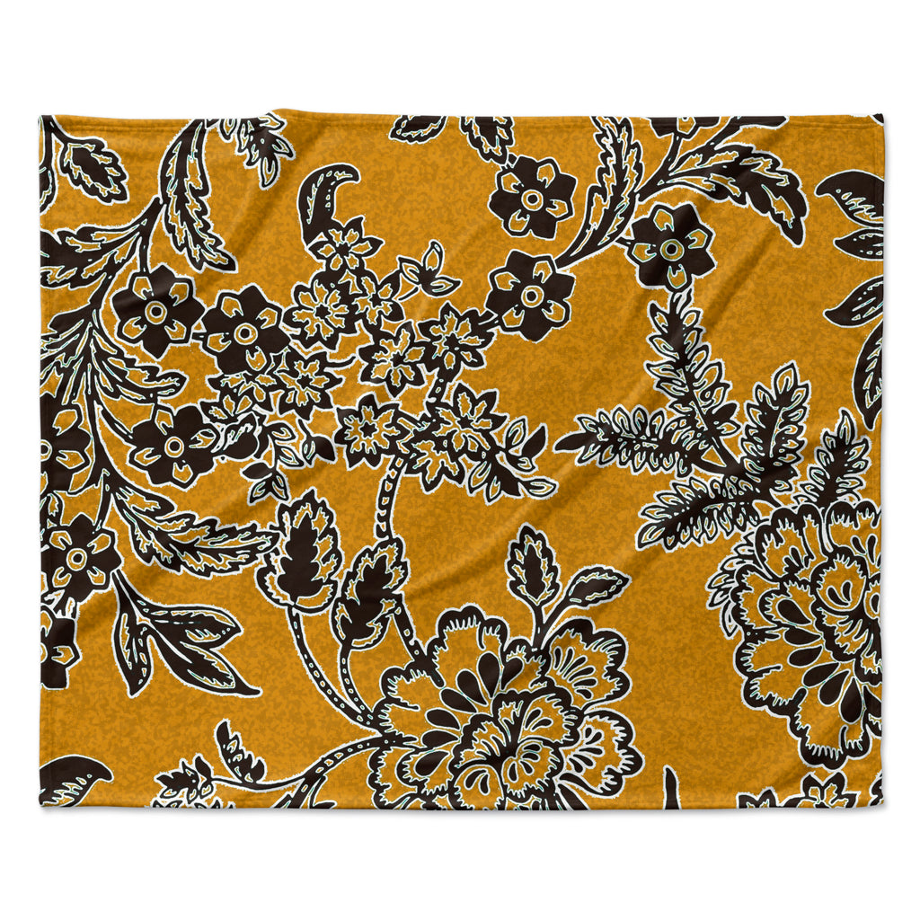 "Vikki Salmela ""Golden Blossom"" Gold Black Fleece Throw Blanket"
