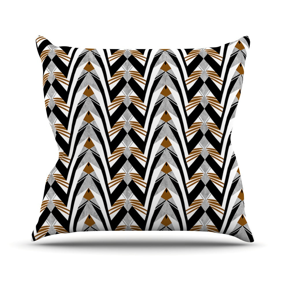"Vikki Salmela ""Wings"" Orange Gray Throw Pillow - KESS InHouse  - 1"