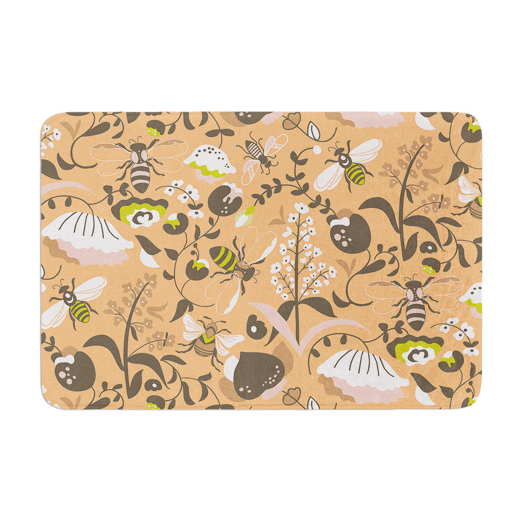 "Very Sarie ""Hope for the Flowers I"" Coral Brown Memory Foam Bath Mat - KESS InHouse"