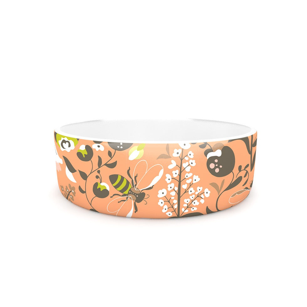 "Very Sarie ""Hope for the Flowers I"" Coral Brown Pet Bowl - KESS InHouse"