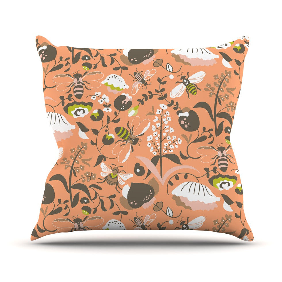 "Very Sarie ""Hope for the Flowers I"" Coral Brown Outdoor Throw Pillow - KESS InHouse  - 1"