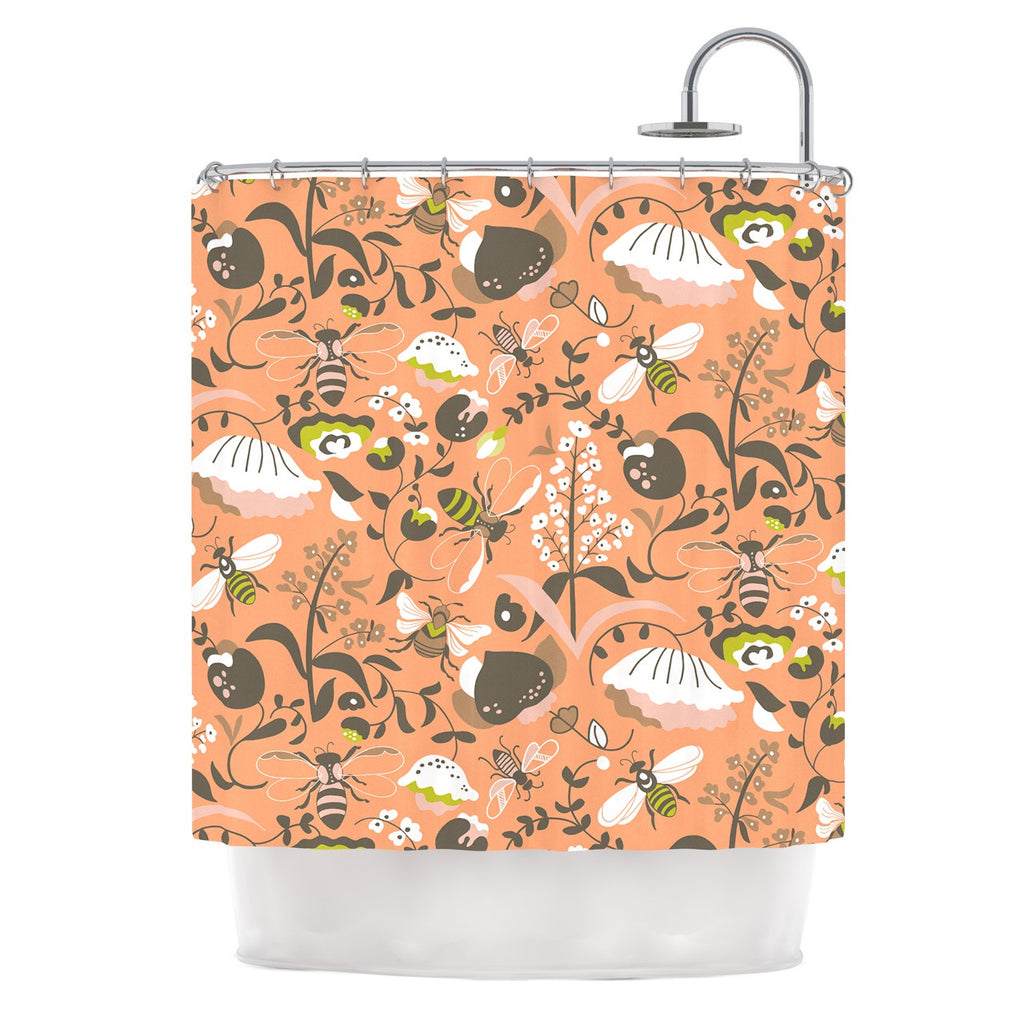 "Very Sarie ""Hope for the Flowers I"" Coral Brown Shower Curtain - KESS InHouse"