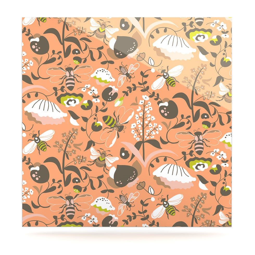 "Very Sarie ""Hope for the Flowers I"" Coral Brown Luxe Square Panel - KESS InHouse  - 1"