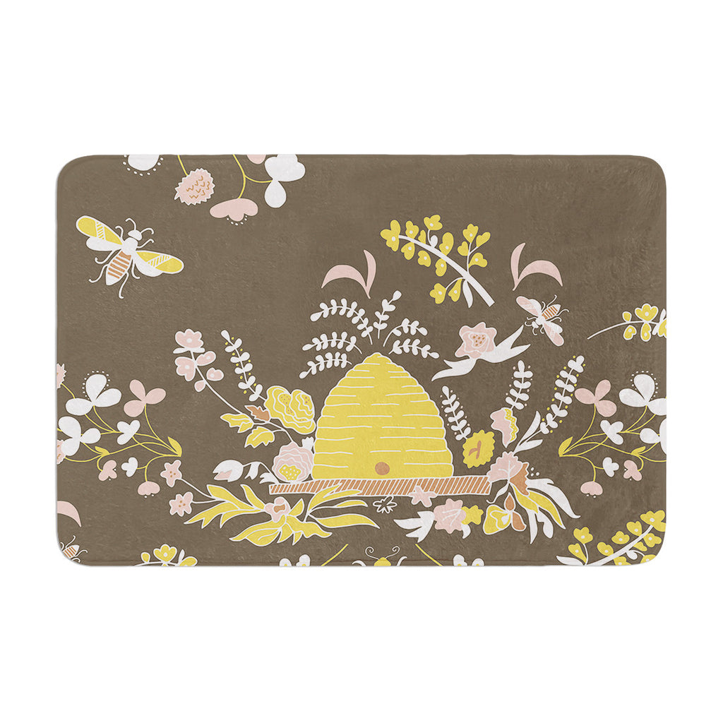 "Very Sarie ""Hope for the Flowers II"" Yellow Brown Memory Foam Bath Mat - KESS InHouse"