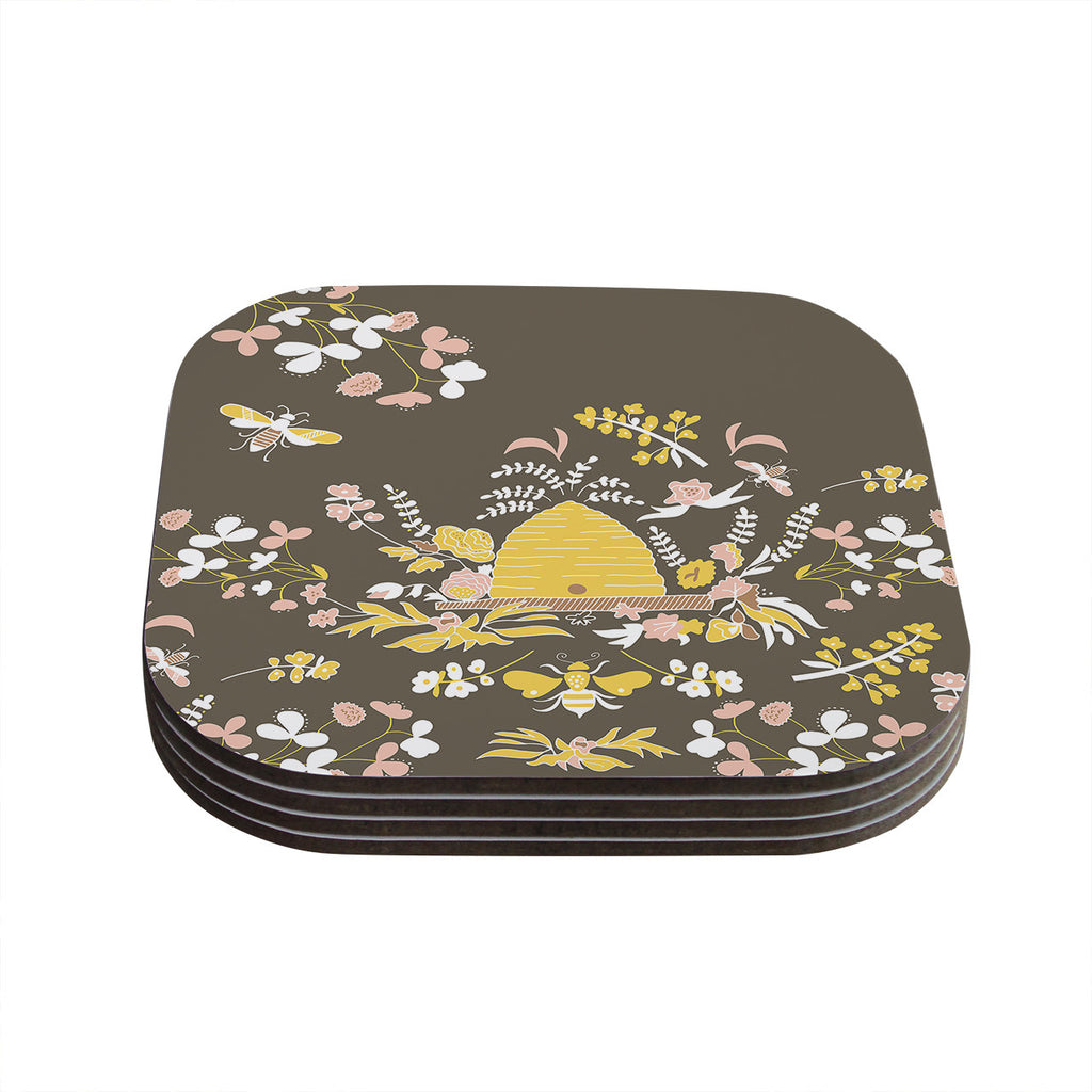 "Very Sarie ""Hope for the Flowers II"" Yellow Brown Coasters (Set of 4)"