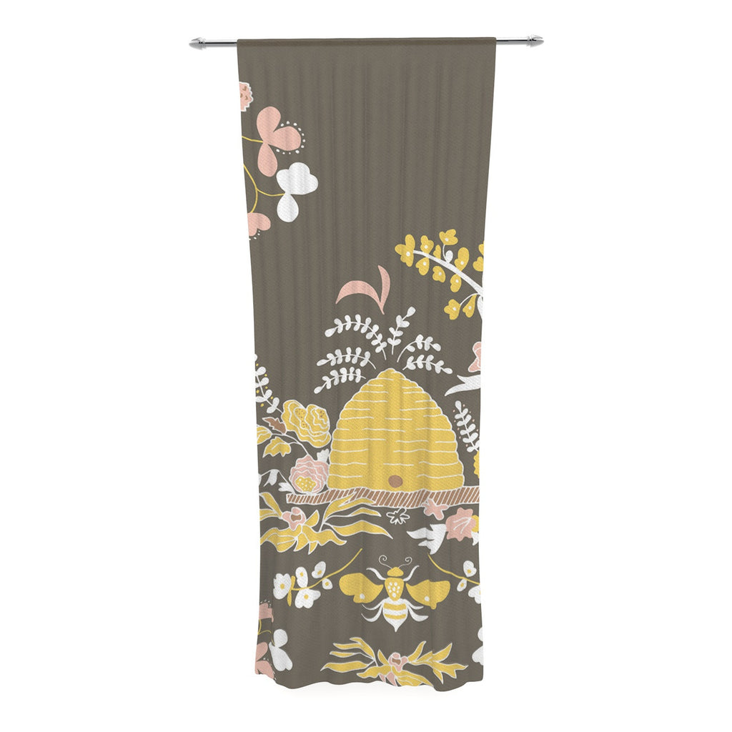 "Very Sarie ""Hope for the Flowers II"" Yellow Brown Decorative Sheer Curtain - KESS InHouse  - 1"