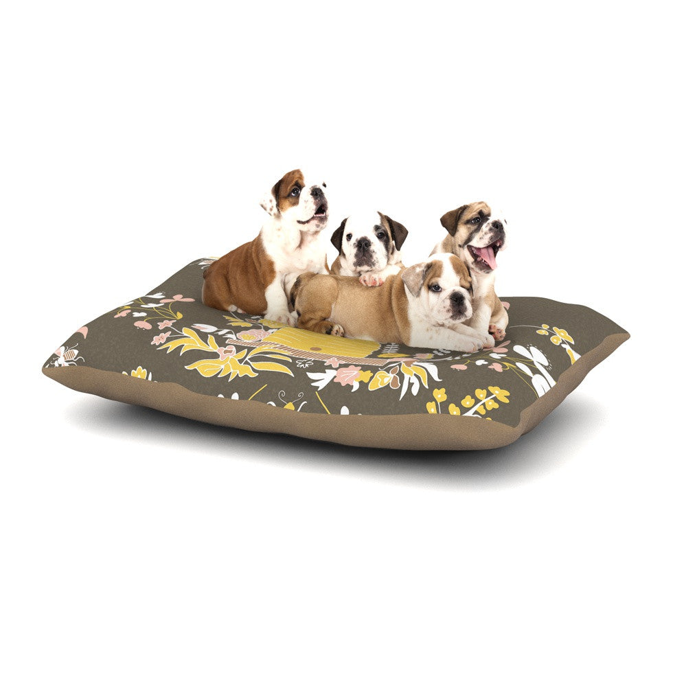 "Very Sarie ""Hope for the Flowers II"" Yellow Brown Dog Bed - KESS InHouse  - 1"