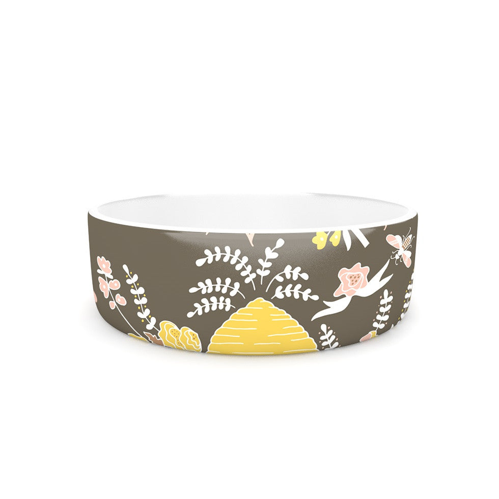 "Very Sarie ""Hope for the Flowers II"" Yellow Brown Pet Bowl - KESS InHouse"