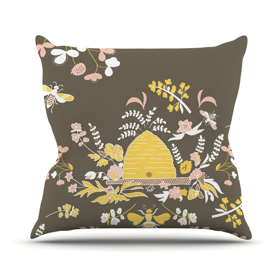 "Very Sarie ""Hope for the Flowers II"" Yellow Brown Throw Pillow - KESS InHouse  - 1"
